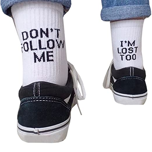 Funky Socks Dont Follow me IM Lost Too Funny Saying Socks for