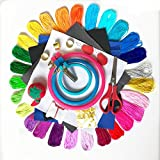 how to make corsages - Full Range of DIY Embroidery Starter Kit Cross Stitch Tool Kit Including 3 pcs Plastic Embroidery Hoop, 25 Color long-staple Cotton Threads, 5 Pcs cotton fabric and Free set of Needle Sewing tool kit