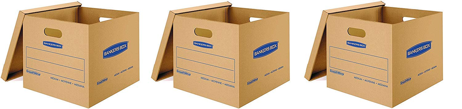 Bankers Box SmoothMove Classic Moving Boxes, Tape-Free Assembly, Easy Carry Handles, Medium (3 X Pack of 10)