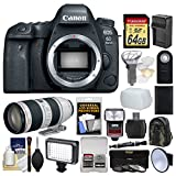 Canon EOS 6D Mark II Wi-Fi Digital SLR Camera Body with EF 70-200mm f/2.8 L IS II Lens + 64GB Card + Backpack + Flash + Light + Battery & Charger Kit