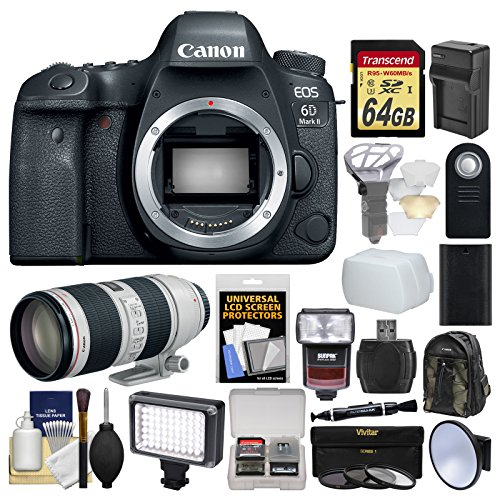 Canon EOS 6D Mark II Wi-Fi Digital SLR Camera Body with EF 70-200mm f/2.8 L IS II Lens + 64GB Card + Backpack + Flash + Light + Battery & Charger Kit by Canon
