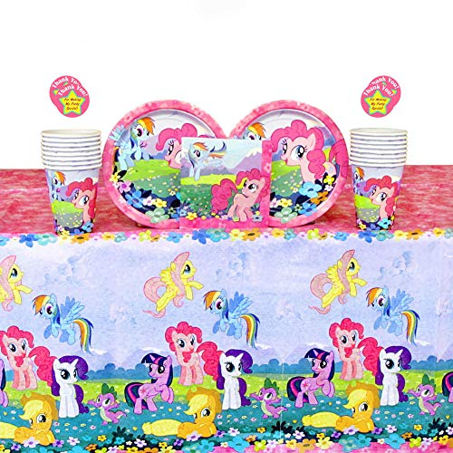 My Little Pony Party Supplies Pack for 16 Guests: Stickers, Dessert Plates, Beverage Napkins, Cups, and Table Cover