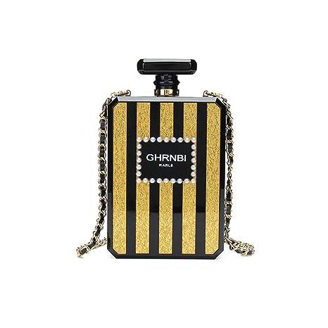 Mujeres acrílico negro PARIS botella de perfume en forma de bolsos de noche bolsos de embrague