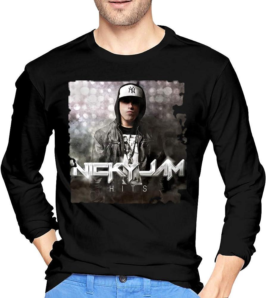 Camiseta de Manga Larga de algodón Nicky Jam Hits para Hombre, Negro: Amazon.es: Ropa y accesorios