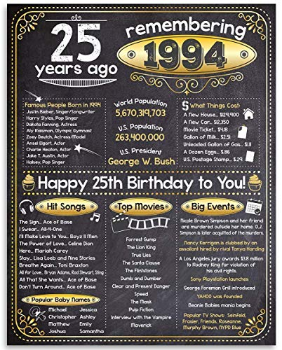 25th Birthday Poster - Remembering The Year 1994-11x14 Unframed Art Print - Makes a Perfect Birthday Gift Under $15 for Someone Turning Twenty -