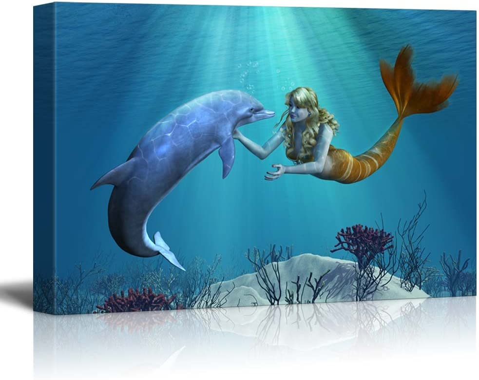 Marvelous Expertise, A Friendly Dolphin Greets a Mermaid Undersea, Classic Design