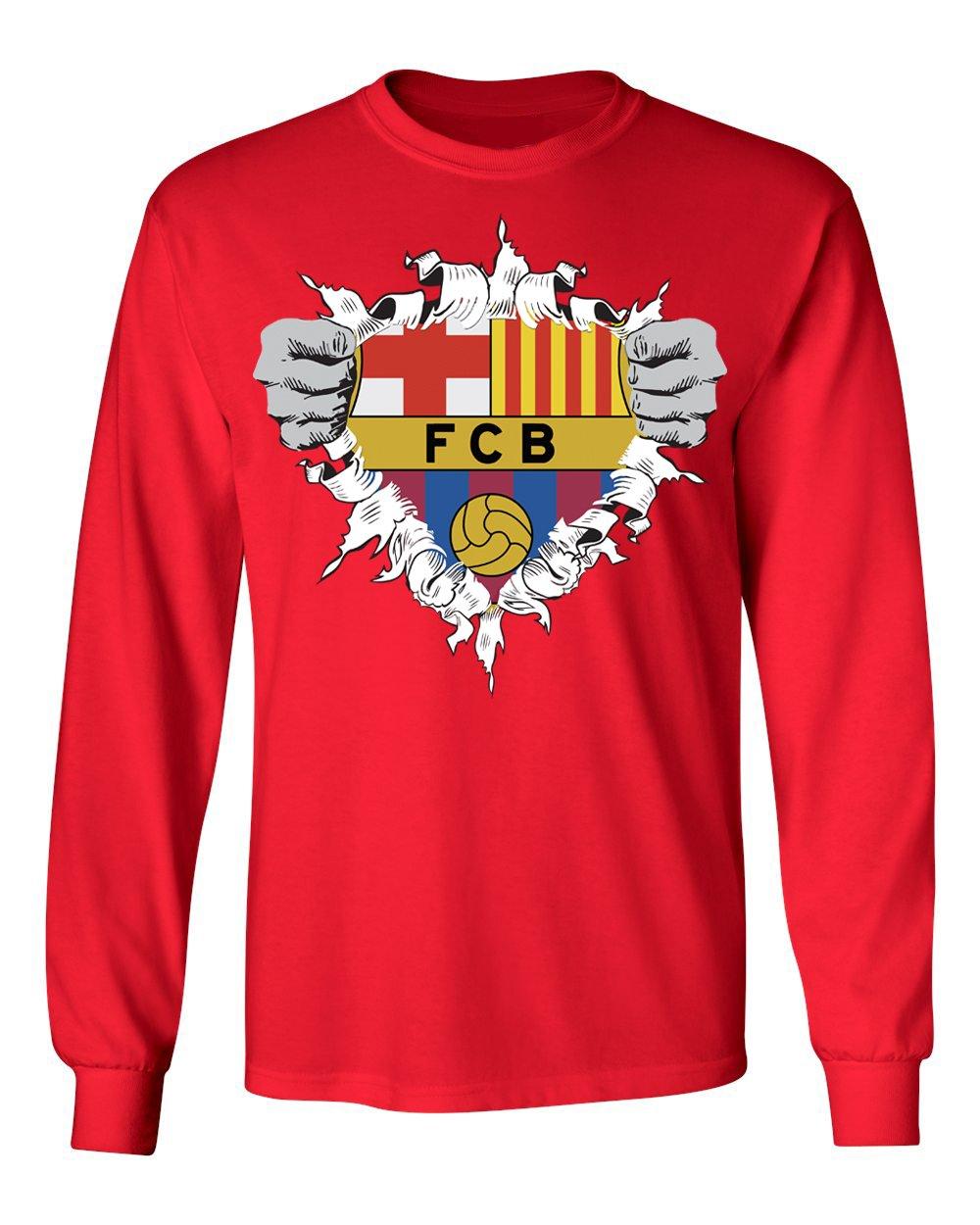ふるさと納税 Smartzone レッド Futbol B0765S94LQ Club Large BarcelonaスーパーヒーローロゴSoccer Football Futbolメンズ長袖Tシャツ Youth Large レッド B0765S94LQ, エミトップ:6e68bf44 --- narvafouette.eu