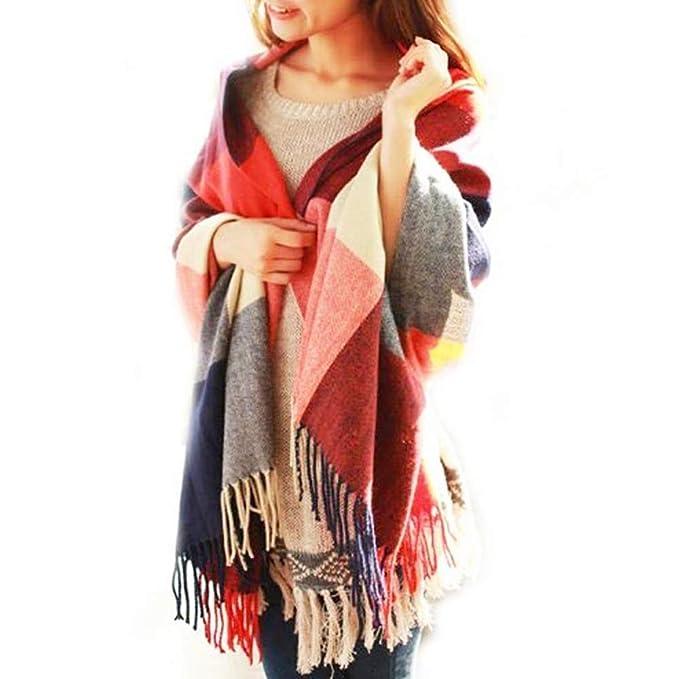 Fashion Warm Winter Women Long Check Tartan Scarf Large Shawl Tassels Scarf Wrap