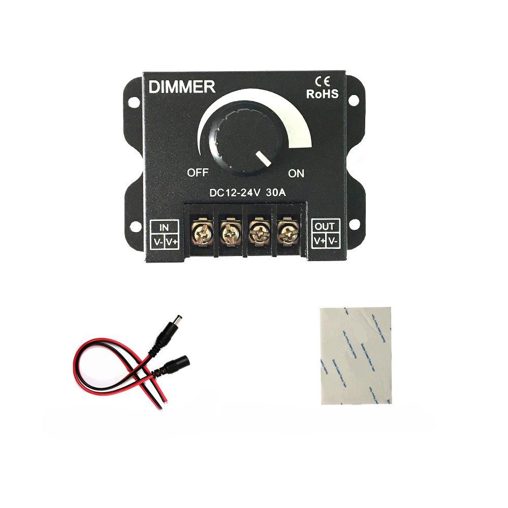 HUALAND PWM 12V 24V 30A/720W LED Dimmer Controller for Single Color LED Strip Lighting Lamp Ribbon Light Black Button Control Brightness
