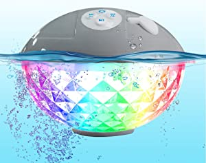 Pool Speaker with Colorful Lights, Floating Bluetooth Speaker IPX7 Waterproof,Built-in Mic,Crystal Clear Stereo Sound Speakers Bluetooth Wireless 50ft Range for Home Shower Pool Outdoor Travel