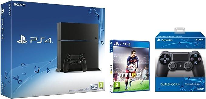 PlayStation 4 (PS4) - Consola 500GB + FIFA 16 - Standard Edition + 2º Mando: Amazon.es: Videojuegos