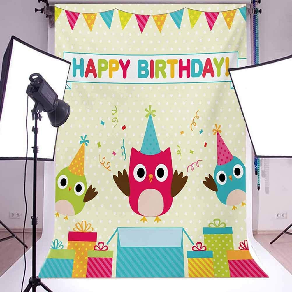 Kids Birthday 10x15 FT Backdrop Photographers,Happy Chubby Baby Owls Flags Box on Polka Dots Backdrop Celebration Print Background for Baby Shower Bridal Wedding Studio Photography Pictures Multicolo