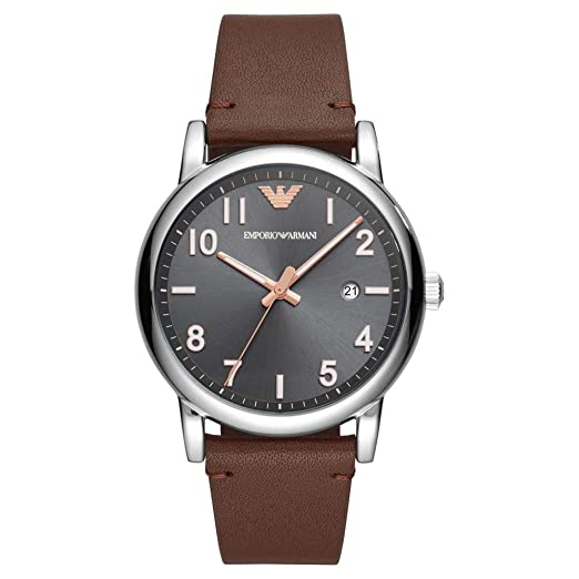 Emporio Armani Mens Grey Dial Brown Leather Strap Watch AR11175   Amazon.co.uk  Watches 8d9a2de55934d
