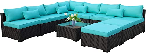 10 Piece Patio Sectional Furniture Set Outdoor PE Wicker Rattan Conversation Sofa