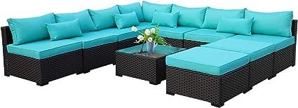 Amazon Com 10 Piece Patio Sectional Furniture Set Outdoor Pe Wicker Rattan Conversation Sofa With Turquoise Cushion Garden Outdoor