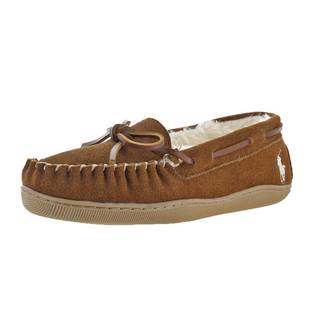 Polo Ralph Lauren Charlie Women's Suede Vegan Fur Lined Moccasin Slippers Shoes B07F21MMJR 7 M US Tan