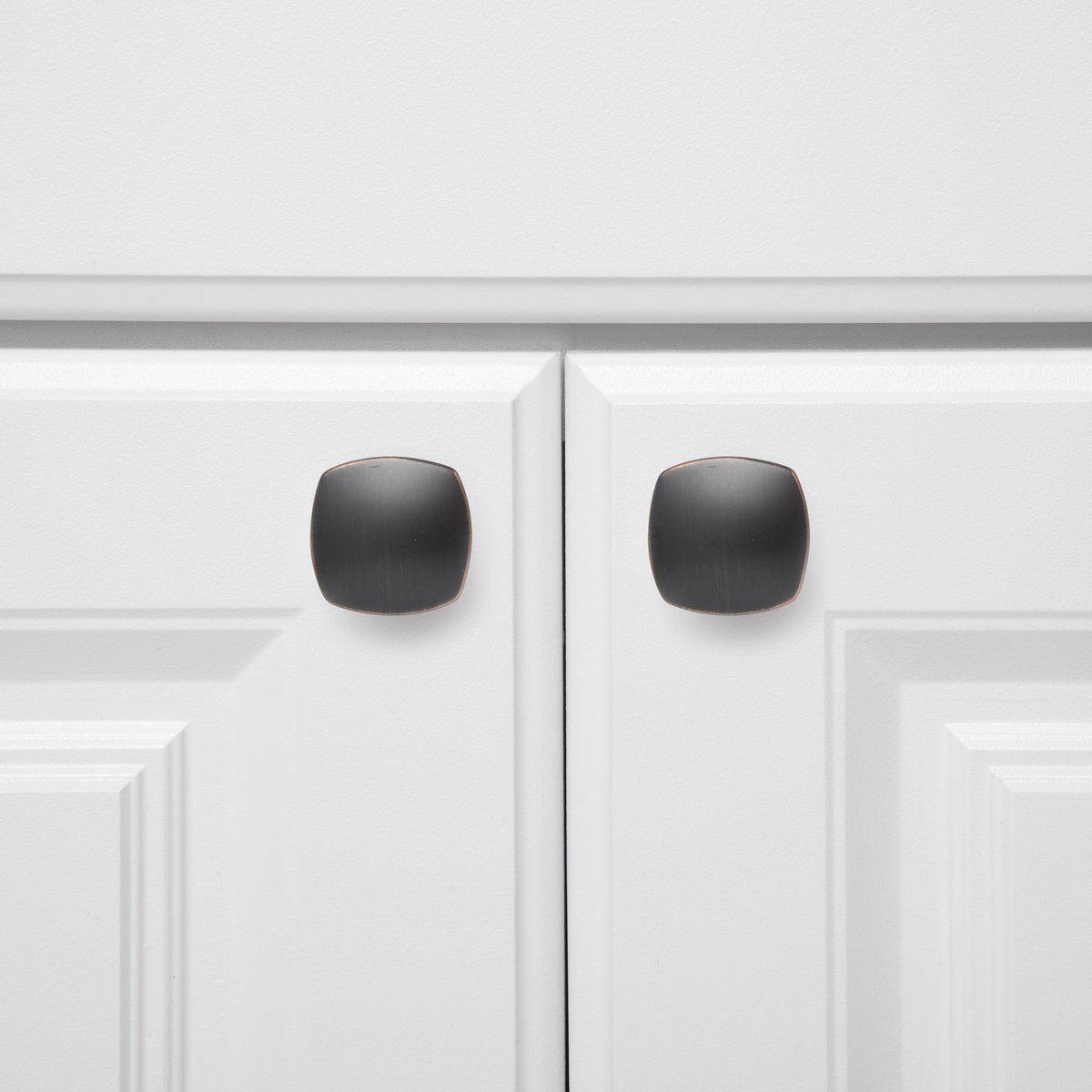 10-Pack Satin Nickel Basics Rounded Square Cabinet Knob 1.26 Diameter