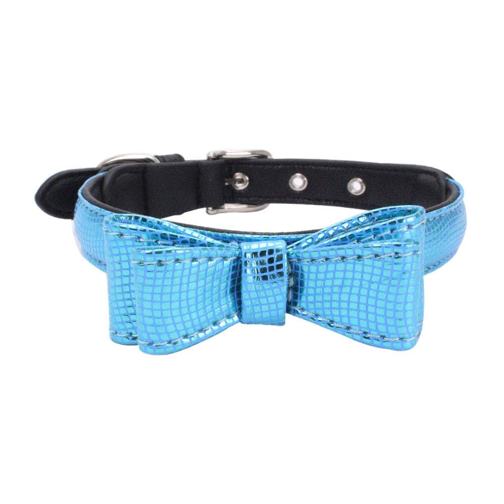 Exquisite Adjustable Small Dog Puppy Pet Collar Serpentin Shape Printed Bow Pet Necklace Neck Strap Collar Cute Puppy Choker Cat Necklace Imitation Leather Outdoor Collar Dress Up (Blue, S)