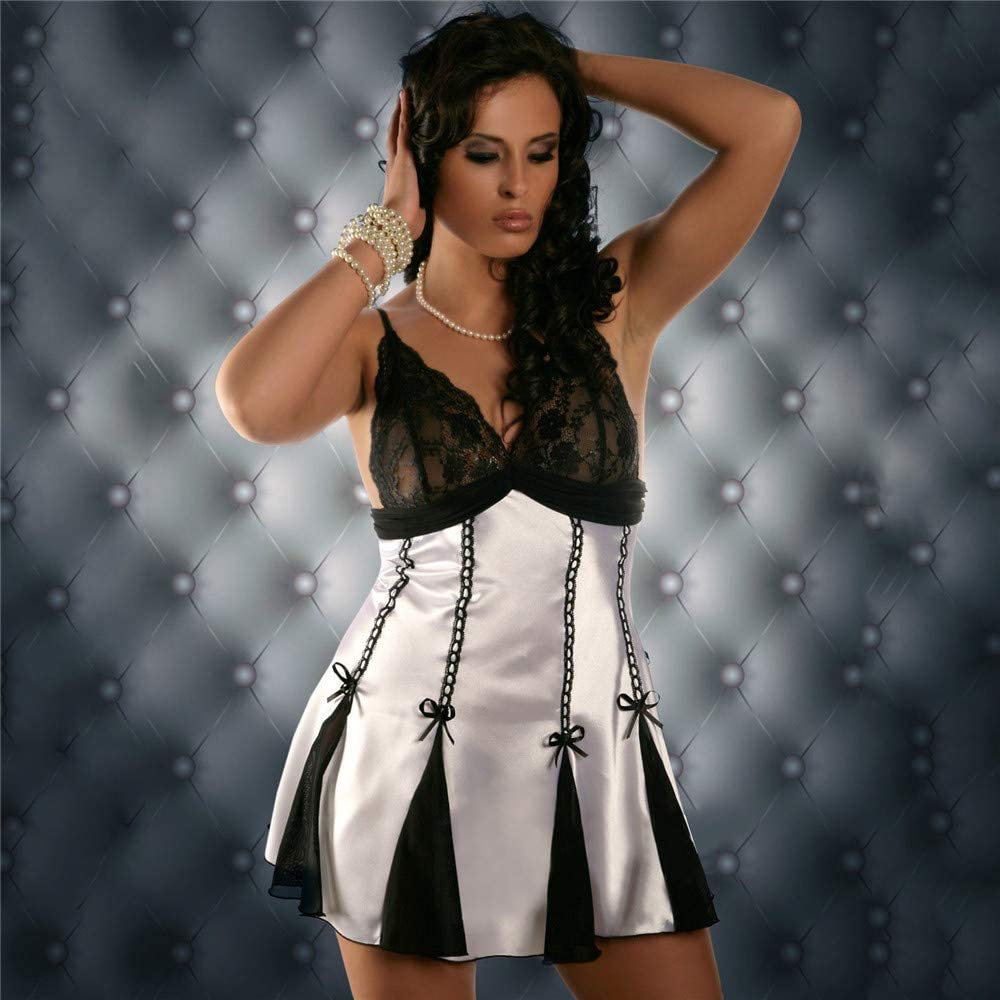 Suma-ma Women Lace Satin Patchwork Sling Sleepwear Lingerie Bow Babydoll Underwear Nightdress