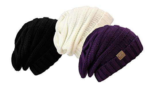 a89a2c72a5a841 NYFASHION101 C.C. Trendy Warm Chunky Soft Stretch Cable Knit Beanie Skully  (3 Pack: Black Ivory Purple) at Amazon Women's Clothing store:
