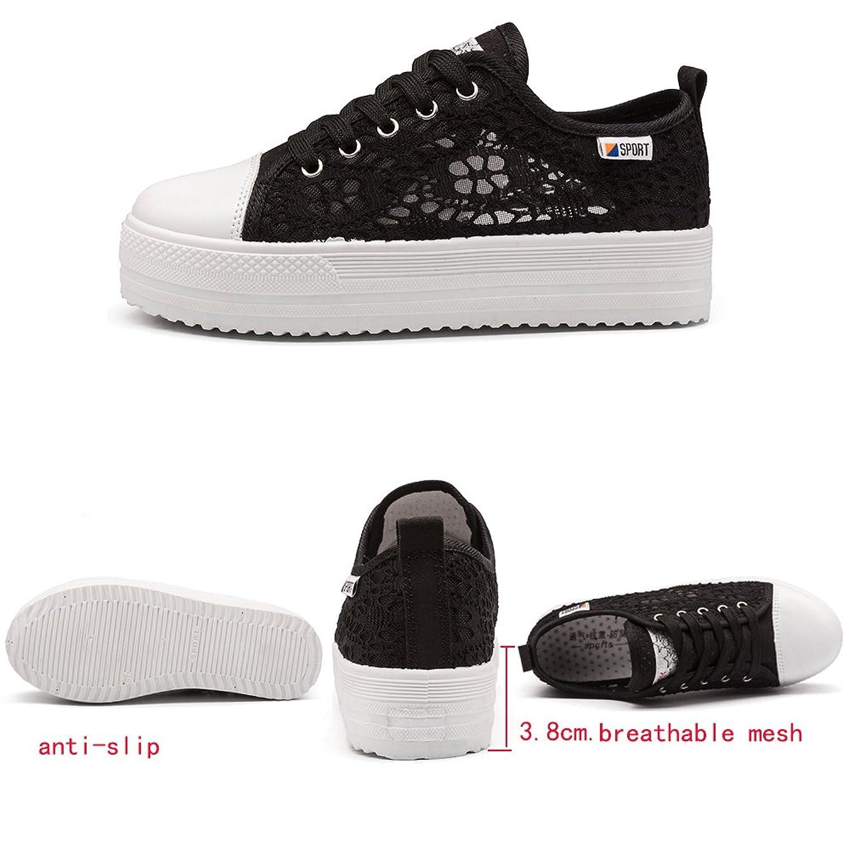 Vinstoken Zapatillas Mujer Plataforma Verano Depotiva Zapatos Talón 3.8cm Negro Blanco 35-42 Blanco 40 oeEcfK