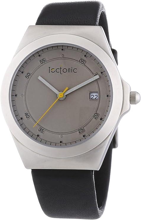Tectonic  - Reloj Analógico de Cuarzo para Hombre, correa de Cuero color Negro