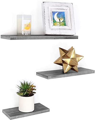 Under.Stated Wall Mounted Floating Shelves – Rustic MDF with PVC Wall Display Ledge Multi-Purpose Hanging Rack Set of 3 Rustic Grey