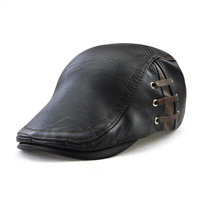 Liyukee Hombres Gorras Planas Cuero PU Ajustable Casquillo de Boina al Aire Libre Otoño Invierno Sombrero