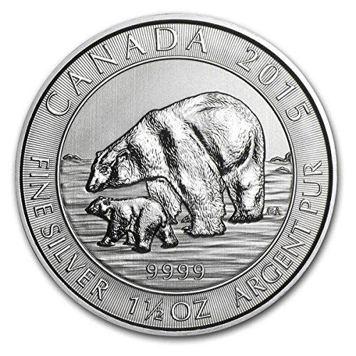 (2015 CA Polar Bear & Cub 9999 1.5 oz Silver Coin $8 Brilliant Uncirculated New)