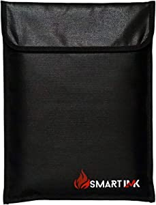 Smart LMK Fireproof Document Bag – 15 x 11 Inch Fire Resistant Bag – Multipurpose Water and Fire Resistant Pouch – Safely Store Money, Documents, Jewelry – Ideal for Travel, Home