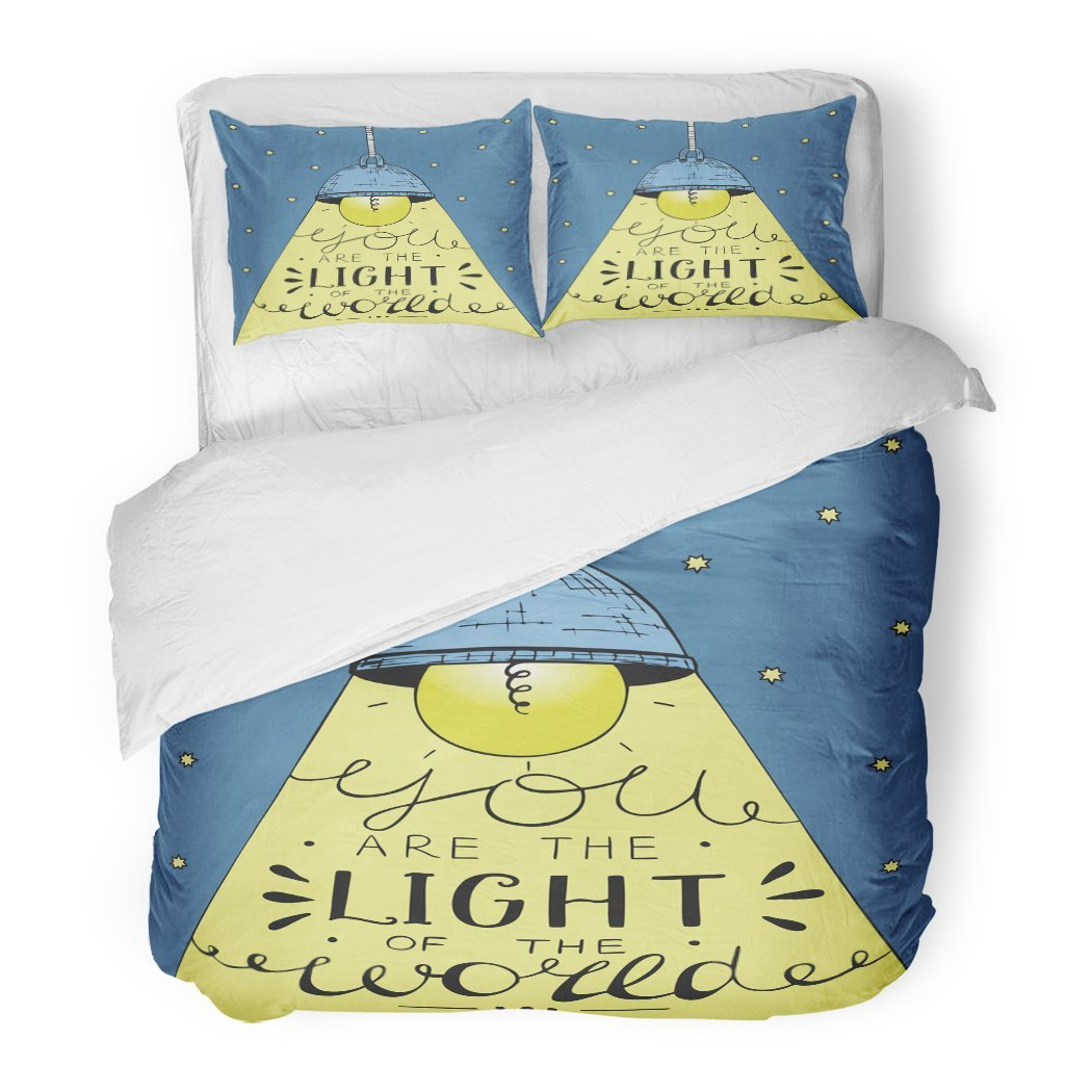 SanChic Duvet Cover Set Glowing Light Bulb on Long Cord Casting Beam of Lettering You Are the World Biblical Christian Decorative Bedding Set with 2 Pillow Shams Full/Queen Size