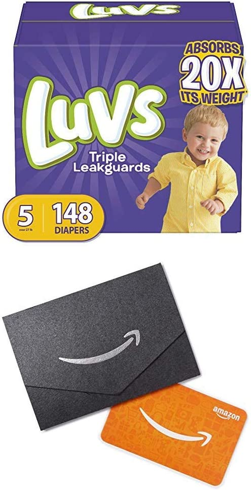 Diapers Size 5, 148 Count (2) - Luvs Ultra Leakguards Disposable Baby Diapers, ONE Month Supply (Packaging May Vary) and $10 Gift Card