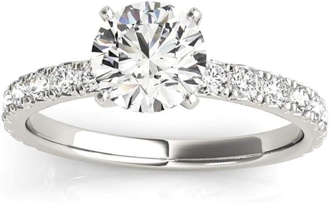 1 Ct Diamond Round Cut Engagement Ring Single Row 14k White Gold Amazon Com