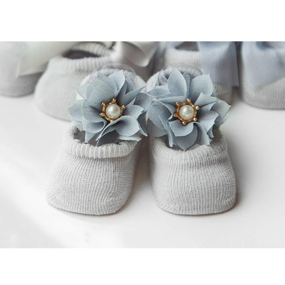 Fliyeong Baby Socken Baumwollsocken Kleinkind Fu/ßbodensocken Rutschfeste Spitze Fliege Socken Anzug f/ür 0-1 Jahre Alt Grau S