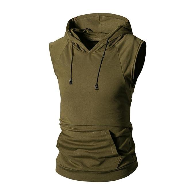 LeeY Herren Hoodie, Men s Sommer Modernes Ärmellos Tank Tops Oversize  Einfarbig Top T-Shirt fe29a6f51f