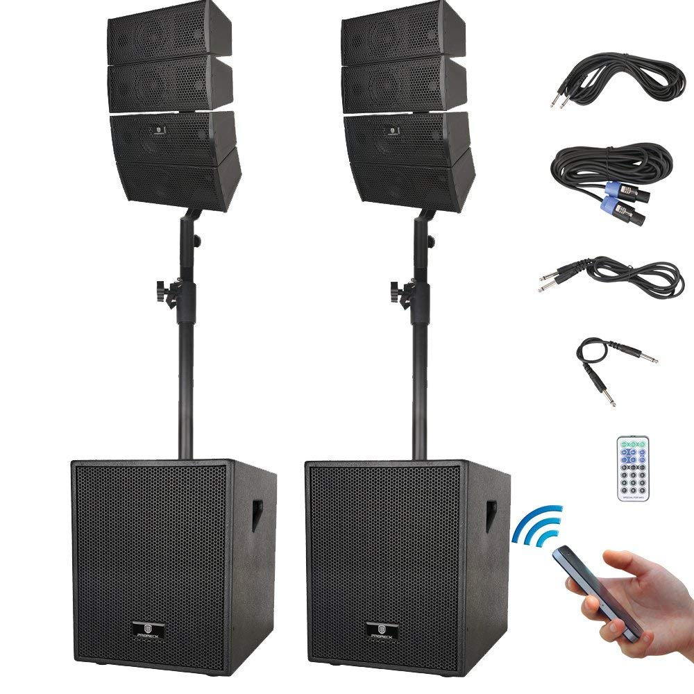 PRORECK Club 3000 12-Inch 3000 Watt DJ/Powered PA Speaker System Combo Set with Bluetooth/USB/SD Card/Remote Control (Two Subwoofers and 8X Array Speakers Set) (Club 3000)