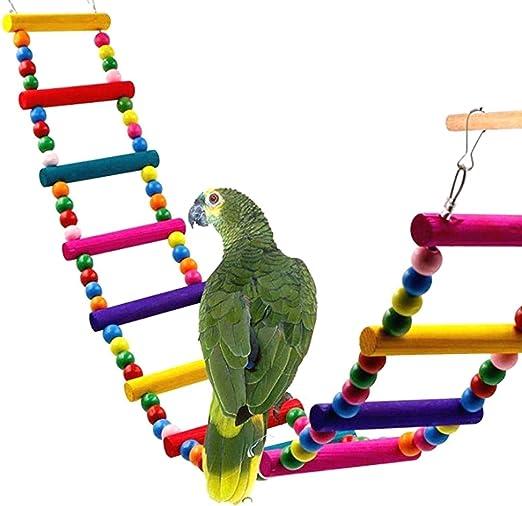 ZOZOSEP Útil Colorido Escalera escaleras Flexible del pájaro del Juguete Formación Loros de Madera Puente del Arco Iris: Amazon.es: Hogar