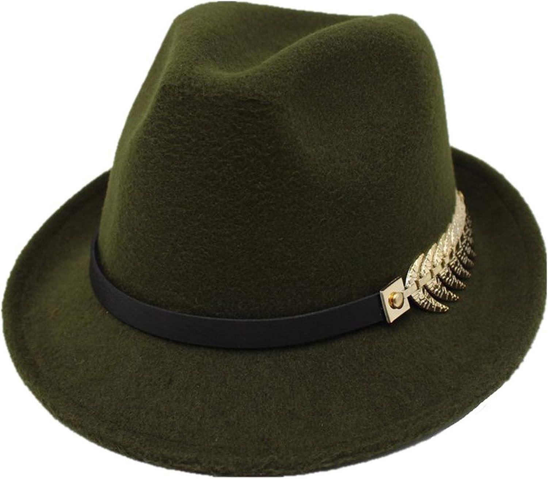 ANDERDM European Roll Narrow Brim Wool Felt Hat for Men Women Trend Jazz Hat with Belt Metal Gentleman hat