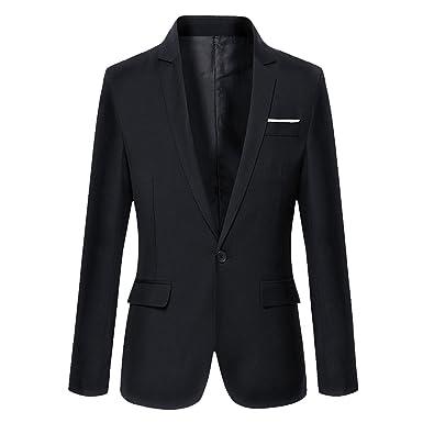 ANN Men's Slim Fit One Button Casual Blazer Jacket,Black,Small
