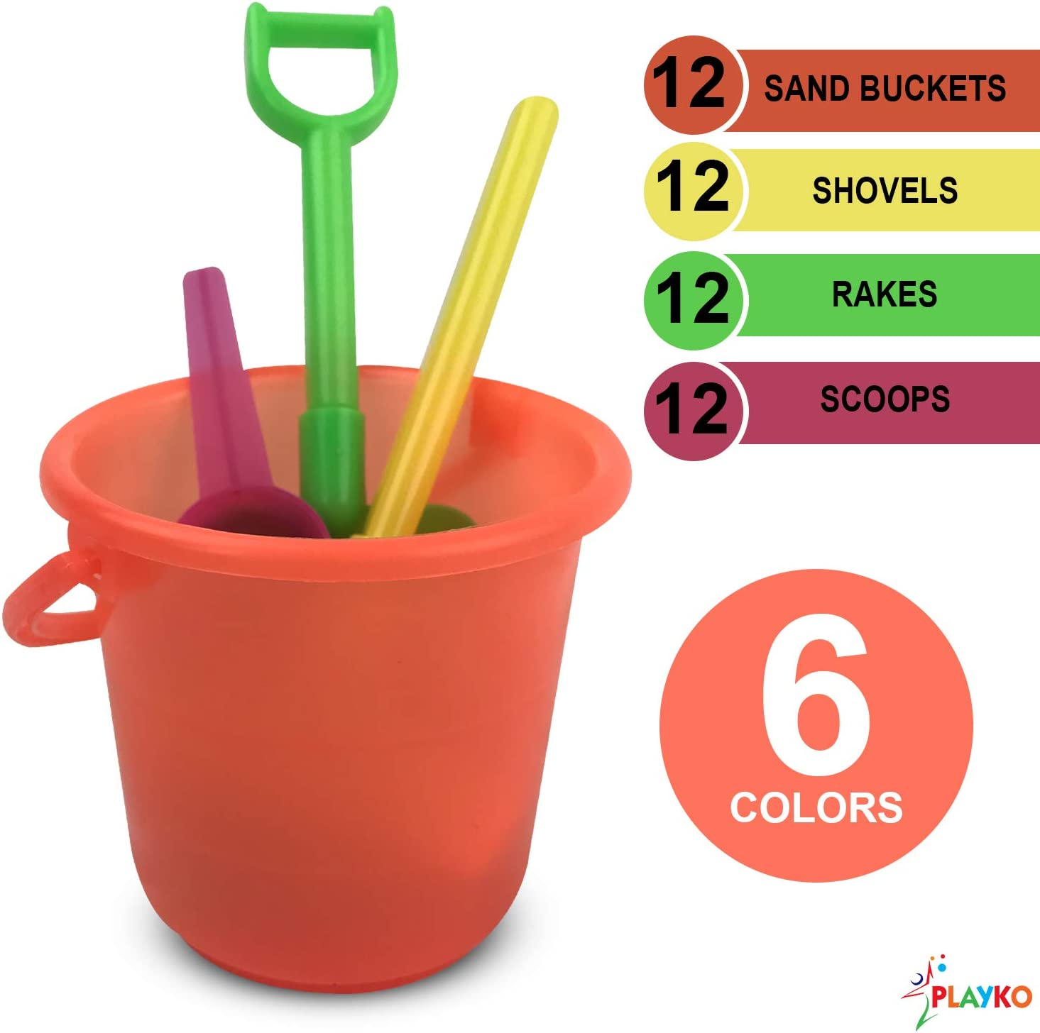 Playko 4 Piece Mini Beach Set Scoop and Rake Treats or Party Favors Pail Beach Toys for Party Colorful Beach Toy Sets For Boys and Girls Shovel Pack of 12 Colorful Sand Toys for Birthdays