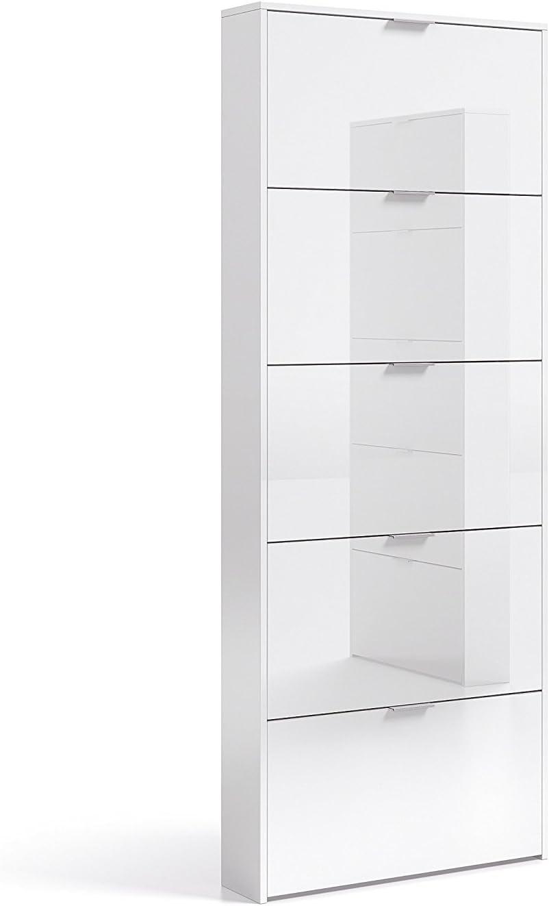 Habitdesign 007815BO - Zapatero con 5 Puertas, Mueble Zapatero Estrecho Dormitorio,Capacidad 15 Pares, Color Blanco Brillo, Medidas: 70 x 180 x 17 cm de Fondo