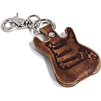 Funda porta púas con forma de guitarra eléctrica de cuero auténtico con llavero y mosquetón Made in Italy Calidad…