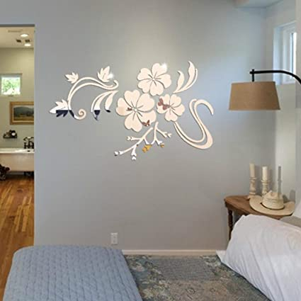 Home Decor 3d Mirror Floral Art Removable Wall Sticker Acrylic Mural Decal Home Room Decor Home Decoration Accessories Wall Stickers
