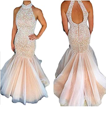 Mathena Womens Beaded Rhinestones Halter Open Back Mermaid Prom Dress 2018 US 2 Champagne