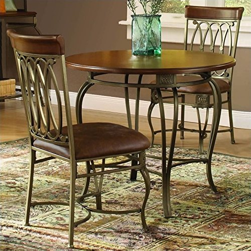 Hillsdale Montello Round 36-Inch Diameter 3-Piece Table Dining Set, Old Steel Finish, Set Includes 1-Table and 2-Chairs