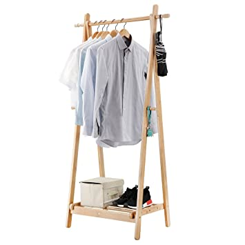 LANGRIA Foldable Bamboo Clothes Laundry Rack with 4 Side Hooks Lower Shoe Shelf for Extra Storage Space A-Frame Design Garment Stand, Bamboo Natural ...