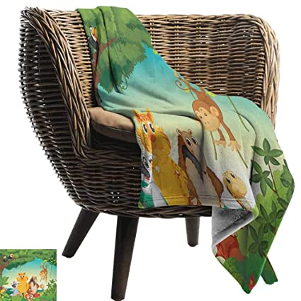Amazon.com: Zoo,Throw Blanket,Forest Scene with Different ...