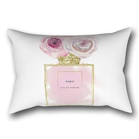 GYTOP Funda Cojín Botella De Perfume De Moda Floral Rosa Y ...