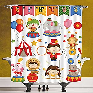 Waterproof Shower Curtain 3.0 by SCOCICI [ Circus Decor,Carnival Circus Happy Children Girl Boy Hat Cotton Candy Stars Swing Lion Decorative, ] Bathroom Accessories with Hooks