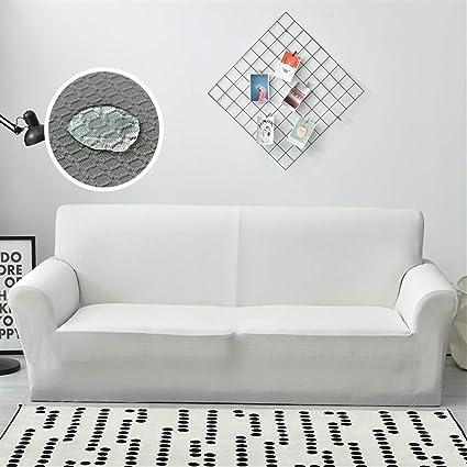 Liveinu Waterproof Jacquard Spandex Stretch Elastic Sofa Slipcover White Big Sofa(95
